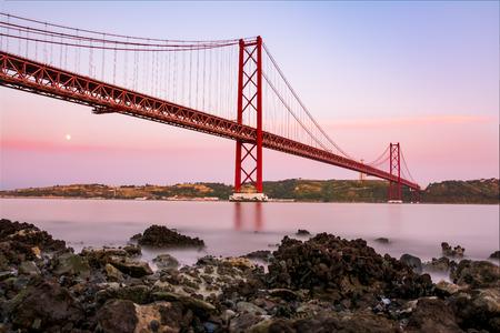 Ponte 25 de Abril Bridge Famous Architectural Sight Lisbon Portugal Landscape