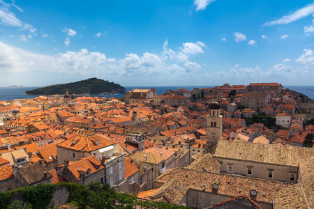 Famous Orange Rooftops of Dubrovnik Croatia Cityscape Aerial View Walking Along Fortress Walls