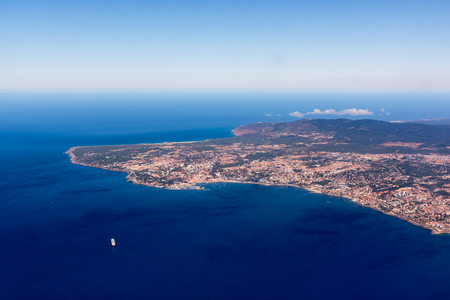 Lisbon Portugal Aerial View Arrival Airplane High Altitude Perpsective Landscape