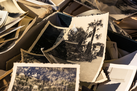 Old Box of Photos Edges Worn Collection Vintage History Family Nostalgia 스톡 콘텐츠