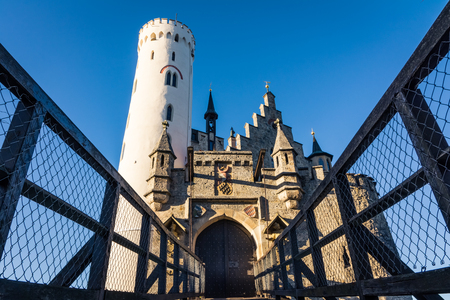 Schloss Lichtenstein Castle Germany Baden-Wuerttemberg Swabian Alb Mountain Castle Fairy Tale Landscape Fortress European Travel Destination Architecture
