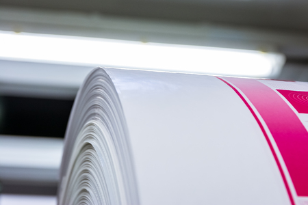 Flexography Roll Material Printed Sheets Cylinder Production Industrial Magenta Rollers Printer Industry Commercial Heavy Flourescent Lights Machine Banque d'images
