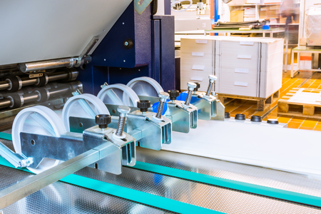 Paper Folding Machine Rollers Conveyor Belt Output Feed Printing Industry Engineering Press Production Stock Photo