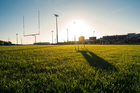 American Football Field Outdoors Goal Posts Green Grass Beautiful Day
