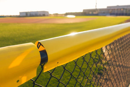 Baseball Field Fence Yellow Pipe Outdoors Sport Sunny Day Grass