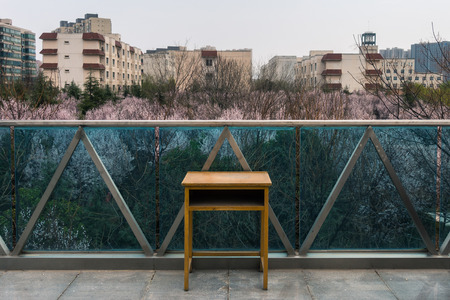 A Desk Standing on an Overpass in China