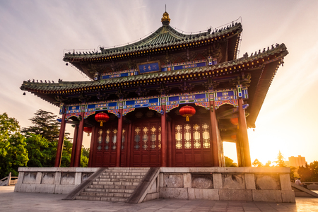Sunset Over Chen Xiang Ting Building in Chinese Park in Xi'an, China