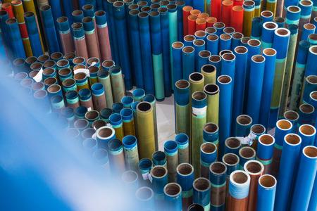 Maniche per stampa flessografica fabbrica di magazzino di stoccaggio inutilizzato inattivo Archivio Fotografico