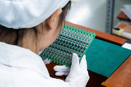 Asian Chinese Electronics Factory Workers Female Industry Manufacturing Assembly Line