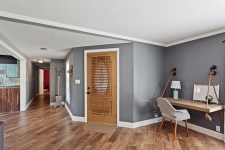 House Interior Foyer Entrance Area Wooden Door Hardwood Floors Contemporary Modern Design
