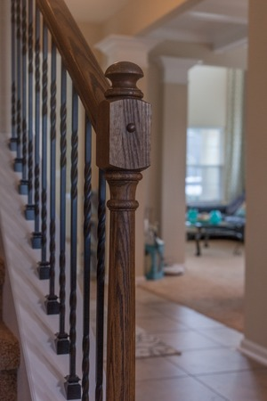 Staircase Wooden Banister Interior Design Detail Close House Entrance High Quality Dark Stok Fotoğraf