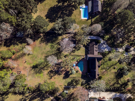 Neighborhood Pools Backyards from Above Aerial Shot Domestic Residential Area America Grassy