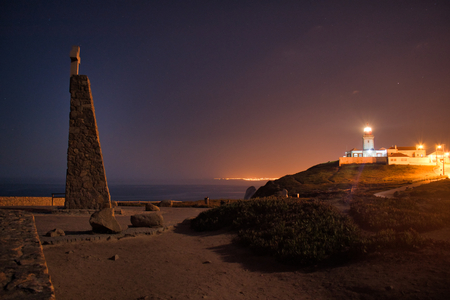 Lighthouse at Cabo da Roca at Night Twilight Dusk Stok Fotoğraf