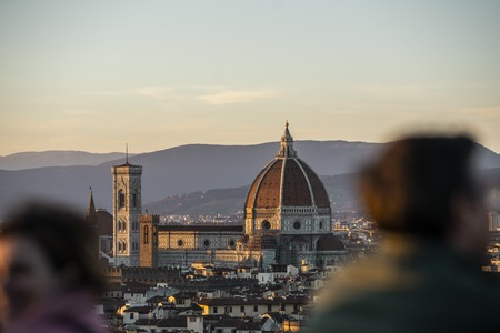 Duomo Santa Maria Del Fiore and Bargello in the afternoon from Piazzale Michelangelo in Florence, Tuscany, Italy