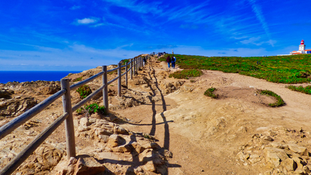 Path to Lighthouse at Cabo da Roca, Portugal Stok Fotoğraf