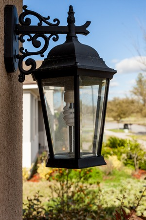 Outdoor Porch Lantern Light Fixture Mounted on House with Eco Friendly Light Bulb Stok Fotoğraf