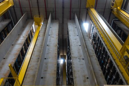 Huge Automated Storage Warehouse Concrete Racks Empty Nobody Industrial Equipment Logistics