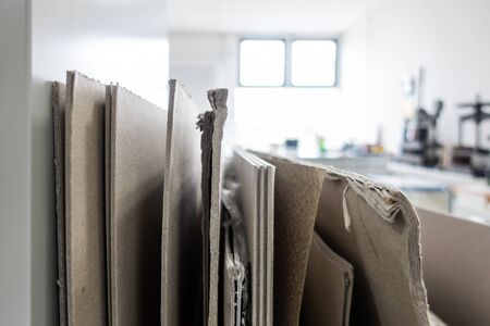 Colletion of Cardboard Paper Board with Differing Thicknesses Printing Production Materials 版權商用圖片