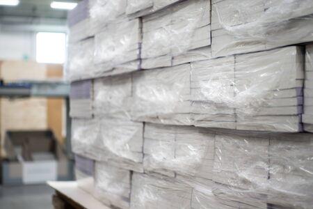 Libros envueltos en termorretráctil en espera de entrega Producción industrial Maquinaria de envasado automatizada