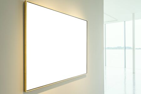 Art Gallery Museum Isolated Frame Contemporary White Wall Rectangular