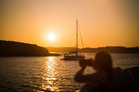 Malta Sailing Ocean Sunset Landscape Orange Sky Water Reklamní fotografie