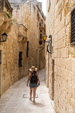 Details Ancient Streets Alleys Mdina Old Architecture Travel Location Limestone Walls 版權商用圖片 - 133088130