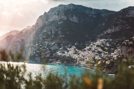 Sunrise Amalfi Coast Cool Color Palette Travel Location Mountains Ocean 版權商用圖片 - 133088491