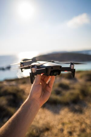 Holding Drone Hovering Travel Location Coastal Photography Equipment Quadrocopter New Reklamní fotografie