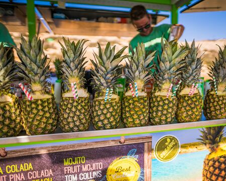 Tropical Pineapple Drinks Stand Selling Island Vacation