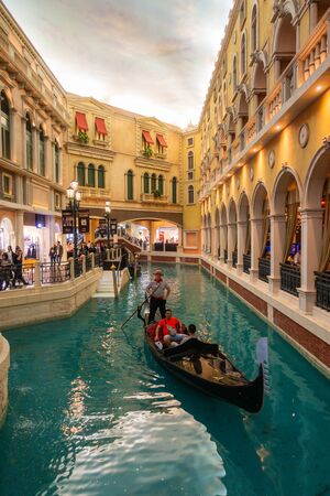 October 31, 2019: MACAU, CHINA - Interior of the Venetian Hotel and Casino, Largest Supercomplex in the World Redakční