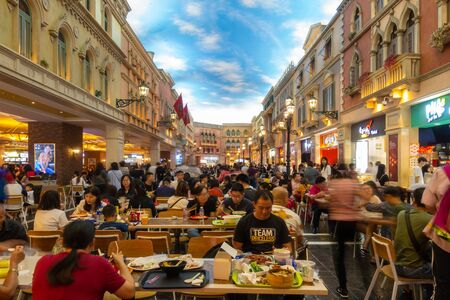 October 31, 2019: MACAU, CHINA - Interior of the Food Court at the Venetian Hotel and Casino, Largest Supercomplex in the World Redakční