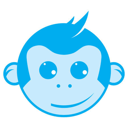 Blue Monkey Head Vector Graphic