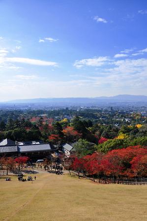 nara park: Nara City view from the top of Nara Park Stock Photo