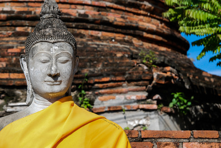 closedup: Closed-up shot of Buddha statue at Wat Yai Chai Mongkhon temple, Anclent City of Ayudhaya Stock Photo
