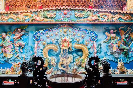 enlightenment: Decorative wall inside The temple of Enlightenment, Kaohsiung City, Taiwan Stock Photo