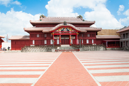 Shuri Castle under the clear blue sky, Okinawa, Japan Imagens