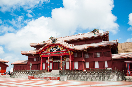 Shuri Castle under the clear blue sky, Okinawa, Japan 版權商用圖片