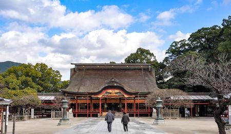Elderly Couple walking in Dazaifu shrine in Fukuoka, Japan