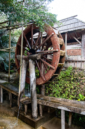 Okinawa traditional water mill, Japan Imagens
