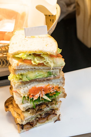 Delicious hand made tower sandwich 写真素材