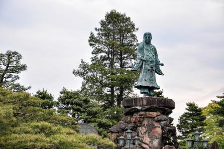 Prince Yamato Takeru in Kenroku Garden in Kanazawa, Japan. Prince Yamato is a ledendary hero of Kanazawa.