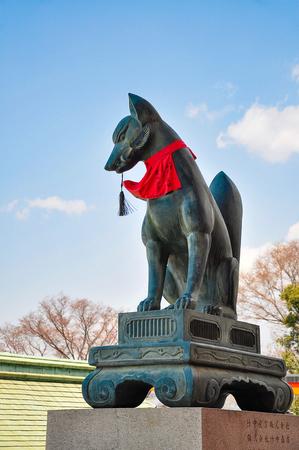 Fox sculpture in Fushimi Inari-taisha shrine. Fushimi Inari Taisha is the head shrine of Inari, located in Fushimi-ku, Kyoto, Japan. 写真素材