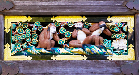 Newly renovated famous three wise monkeys at Toshogu Shrine, Nikko, Japan