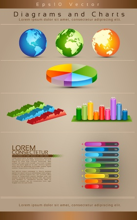 Collection Of Diagrams, Charts and Globe - Vector Illustration Vector