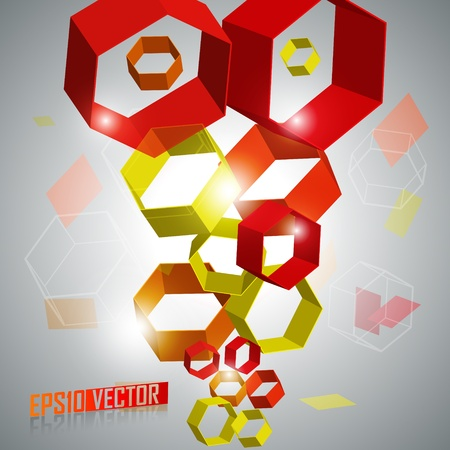 EPS10 3D Hexagons - Abstract Vector Background Vector