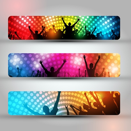 EPS10 Set of Headers - Party People Vector Background - Dancing Young People Vector
