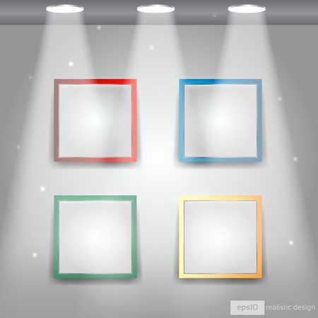 Gallery Interior with empty colorful frames on wall - EPS10 Vector Design Vector