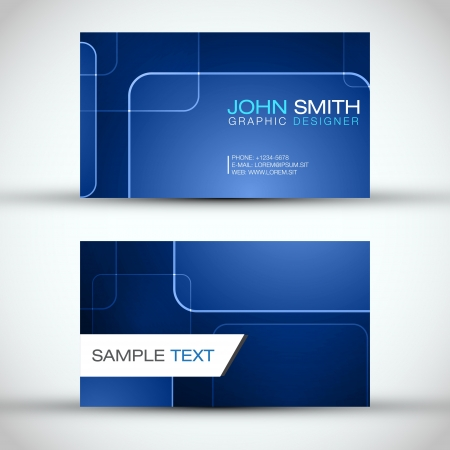 Blue Modern Business Card Set   Vector