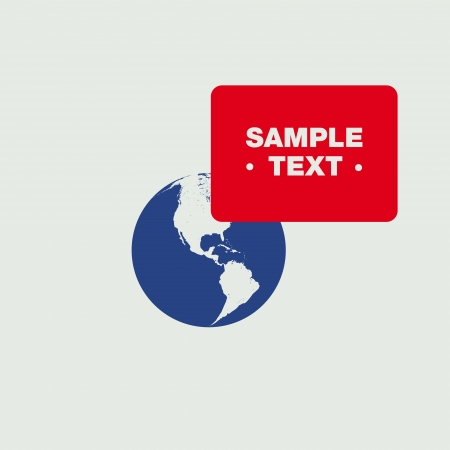 Red Speech bubble on Blue Globe Vector