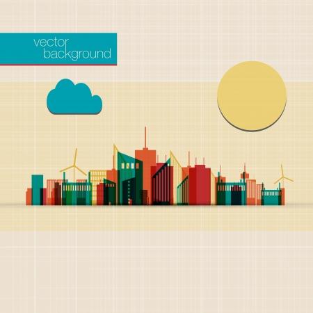 メトロポリス: 抽象的なカラフルなパノラマの街の背景
